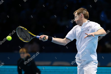 Stock Image of Tennis - ATP World Tour finals 2012 - The O2 Arena - Jonathan Marray (GBR) and Frederick Nielsen (DEN) vs Mahesh Bhupathi (IND) and Rohan Bopanna (IND) Jonathan Marray (GBR) at the O2 Arena London London, UK