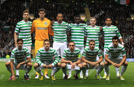Football - Champions League - Celtic vs Celtic vs Benfica Celtic team group back row L to R Charlie Mulgrew Fraser Forster Kelvin Wilson Victor Wamyama James Forrest and Emilio Izaguirre front row Mikael Lustig Kris Commons Scott Brown Adam Mathews and Nicolas Fedor during the Celtic vs Benfica Champions League Group G match at Celtic Park on September 19th 2012  United Kingdom Glasgow