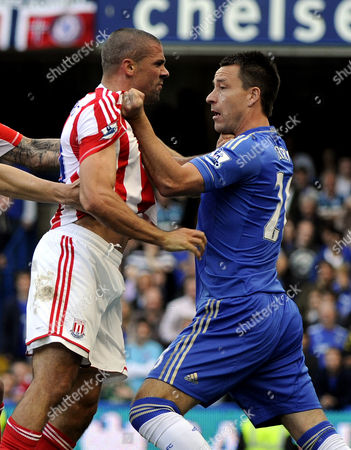 Football - Premier League Chelsea vs Stoke City John Terry and Jonathan Walters come to blows