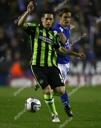 Football - 2012 / 2013 npower Championship - Leicester City vs Brighton and Hove Albion Brighton's Andrew Crofts gets away from Leicester goal scorer Andy King at The King Power Stadium