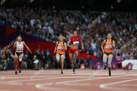 Paralympics - Athletics - Women's 100m - T44 Round 1 Heat 2 April Holmes of USA wins the heat at the Olympic Stadium Stratford London UK Stratford, UK
