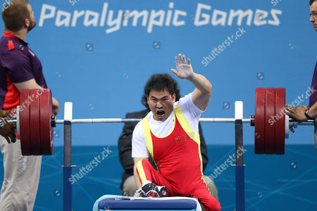 Paralympics - Powerlifting - Men's -56kg Group A Jian Wang of CHN wins bronze at the ExCel Centre London UK Stratford, UK