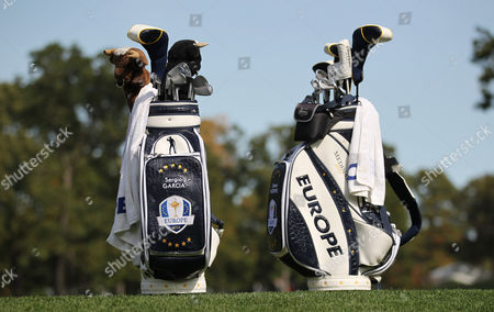 Golf - Ryder Cup 2012 - Wednesday Practice Team Europe paid tribute to Seve Ballesteros with his image at the top of the golf bags at Medinah Country Club Chicago USA USA Medinah