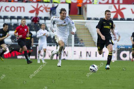 Football - 2012 / 2013 Premier League - Swansea vs Wigan Miguel Perez Cuesta ('Michu') on the break for Swansea at Liberty Stadium UK swansea