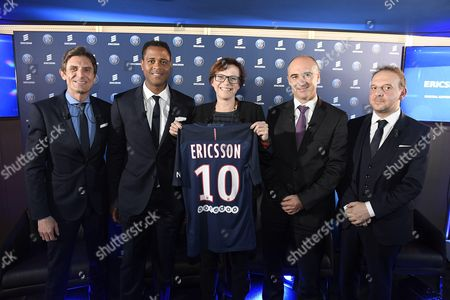 Frederic Longuepee, Deputy general Manager for PSG, Patrick kluivert, football director for PSG, Helena Norman, CMO Ericsson, FranckBouetard, President CEO Ericsson France and Boris Serapian, chief information officer for PSG during a press conference at the Parc des Princes.