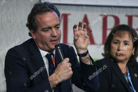 Nick Hurd, Minister of State for Climate Change and Industry of the United Kingdom, speaks during the launch of the 2050 Pathways Platform, at the COP22 climate change conference, in Marrakech, Morocco