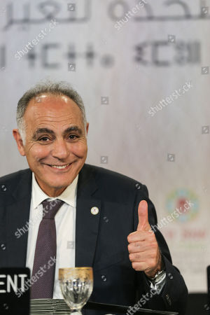 """Morocco's Foreign Minister Salaheddine Mezouar, gestures to journalists after the proclamation of Marrakech, at the COP22 climate change conference, in Marrakech, Morocco, . Governments meeting for U.N. climate talks have reiterated their commitment to the Paris Agreement with a proclamation saying climate action is """"irreversible,"""" the buzzword at the two-week conference after the uncertainty caused by the U.S. election"""