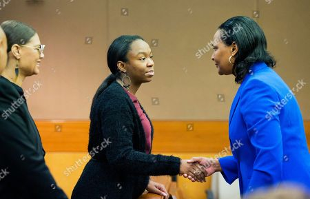 LaPrincia Brown, Bedelia Hargrove LaPrincia Brown, left, the half-sister of Bobbi Kristina Brown, greets Bedelia Hargrove, right, conservator for Bobbi's estate, during a wrongful death case against Bobbi's partner, Nick Gordon, in Atlanta, . Brown, the celebrity daughter of singers Whitney Houston and Bobby Brown, was found face-down and unresponsive in a bathtub in her suburban Atlanta townhome in January 2015