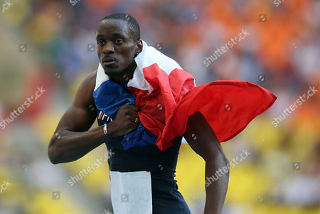 Stock Image of Athletics - IAAF World Championships - Moscow 2013 MOSCOW RUSSIA - AUGUST 18: Teddy Tamgho of France winner of The Triple Jump during Day Nine of the 14th IAAF World Athletics Championships Moscow 2013 at Luzhniki Stadium on August 18 2013 in Moscow Russia During the competition he became only the third man to jump over 18 metres  Russia Moscow