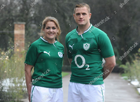 Stock Image of Rugby Union - 2013 RBS Six Nations Launch - The Hurlingham Club The Mens and Womens Captains of Ireland : Fiona Coughlan and Jamie Heaslip
