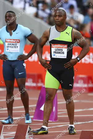 Athletics - 2013 Sainsbury's Anniversary Games - Day One Great Britain's Harry Aikines-Aryeetey left and Mark Lewis-Francis before the men's 100m B race at the Olympic Stadium Queen Elizabeth Olympic Park London