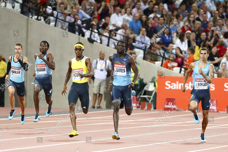 Athletics - 2013 Sainsbury's Anniversary Games - Day One The 400m race in progress in the the Olympic Stadium Queen Elizabeth Olympic Park Left to right: MASLAK Pavel MASRAHI Youssef Ahmed MCQUAY Tony JAMES Kirani BORLEE Jonathan London