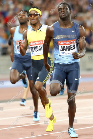 Athletics - 2013 Sainsbury's Anniversary Games - Day One The 400m race in progress in the the Olympic Stadium Queen Elizabeth Olympic Park Left to right: MASRAHI Youssef Ahmed MCQUAY Tony JAMES Kirani London