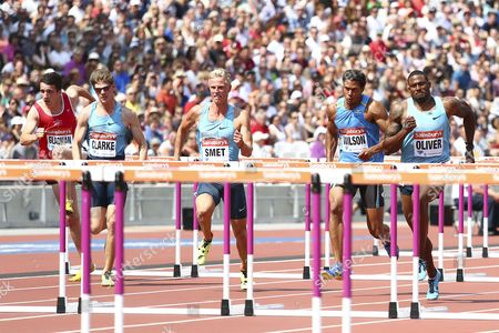 Athletics - 2013 Sainsbury's Anniversary Games - Day Two The 110m hurdles heat in the Olympic Stadium Queen Elizabeth Olympic Park Left to right: James Gladman Lawrence Clarke Koen Smet Ryan Wilson David Oliver London