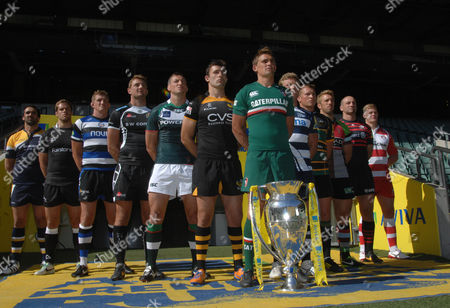 Rugby Union - 2013 / 2014 Aviva Premiership Rugby Launch Press Conference - Twickenham Toby Flood (Leicester tigers) leads the line of Premiership Captains with the trophy Pictured are: Worcester Warriors' Jonathan Thomas Newcastle Falcon's Will Welch Bath's Stuart Hooper Exeter Chief's Dean Mumm London Irish's Declan Danaher London Wasps' Chris Bell Leicester Tigers' Toby Flood Sale Sharks' Daniel Braid Northampton Saint's Dylan Hartley Harlequins Chris Robshaw Saracens' Steve Borthwick Gloucester's Tom Savage
