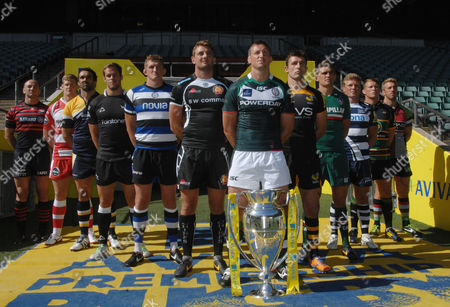 Stock Image of Rugby Union - 2013 / 2014 Aviva Premiership Rugby Launch Press Conference - Twickenham Declan Danaher (London Irish) leads the line of Premiership Captains with the trophy Pictured are: Worcester Warriors' Jonathan Thomas Newcastle Falcon's Will Welch Bath's Stuart Hooper Exeter Chief's Dean Mumm London Irish's Declan Danaher London Wasps' Chris Bell Leicester Tigers' Toby Flood Sale Sharks' Daniel Braid Northampton Saint's Dylan Hartley Harlequins Chris Robshaw Saracens' Steve Borthwick Gloucester's Tom Savage