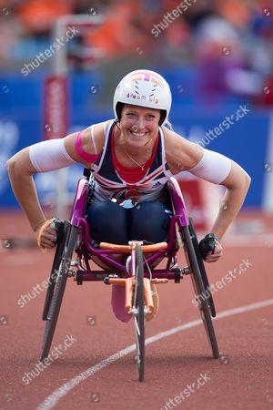 Stock Picture of Athletics - 2013 IPC Grand Final Melissa Nicholls of Great Britain following the women's 200m T33/34 at the Alexander Stadium Birmingham
