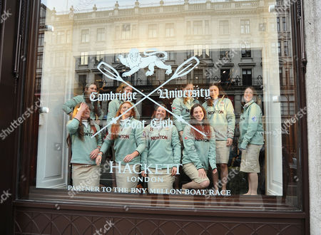 Rowing - 2014 BNY Mellon Boat Race & Newton Women's Boat Race Crew The Women's Cambridge team practise rowing as they Pose in the Shop window of Hackett in Regent street London  CAMBRIDGE Position Name Weight (kg) Bow: Caroline Reid ? 64 4kg 2: Kate Ashley ? 75kg 3: Holly Game -74 6kg 4: Isabella Vyvyan ? 87 2kg 5: Catherine Foot ? 71kg 6: Melissa Wilson ? 77kg 7: Claire Watkins ? 72 6 Stroke: Emily Day ? 64kg Cox: Esther Momcilovic ? 52 4kg