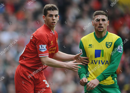 Football - 2013 / 2014 Premier League - Norwich City vs Liverpool Liverpool's Jon Flanagan and Gary Cooper at Carrow Road