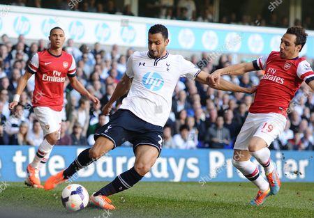 Football - 2013 / 2014 Premier League - Tottenham Hotspur vs Arsenal Santi Carzola - Arsenal Spurs' Nacer Chadli at White Hart Lane