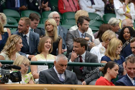 Tennis - 2014 Wimbledon Championships - Week One Saturday Mens Singles Third Round: Rafael Nadal v Mikhall Kukushkin Lizzie Yarnold and Partner Dr James Roche in the Royal Box on Centre Court