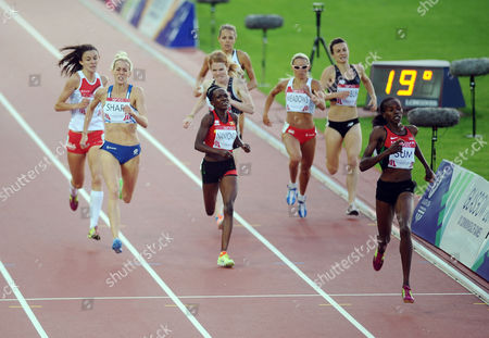 Stock Photo of Athletics - 2014 Glasgow Commonwealth Games - Day Nine Women's 800m Final Kenya's Eunice Jepkoech Sum leads the field on the way to winning the gold medal with Scotland's Lynsey Sharp (left; silver) England's Jenny Meadows New Zealand's Nikki Hamblin and Uganda's Winnie Nanyondo (bronze) behind at Hampden Park