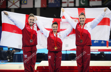 Gymnastics - 2014 Glasgow Commonwealth Games - Day Seven Women's Artistic Individual All-Around Medal Presentation England's clean-sweep of the medals at The SSE Hydro Left to right: Ruby Harrold (silver) Claudia Fragapane (gold) Hannah Whelan (bronze)