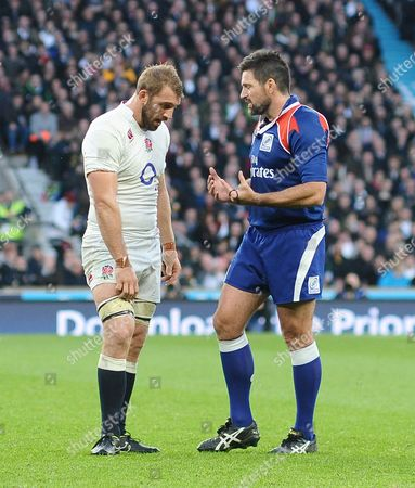 Rugby Union - 2014 Autumn Internationals - England vs South Africa England captain Chris Robshaw in discussion with Referee Steve Walsh at Twickenham