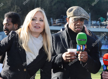 Football - 2014 / 2015 FA Cup - Third Round: Dover Athletic vs Crystal Palace BT Sport Commentator Ian Wright with Lynsey Hipgrave at the Crabble Athletic Ground