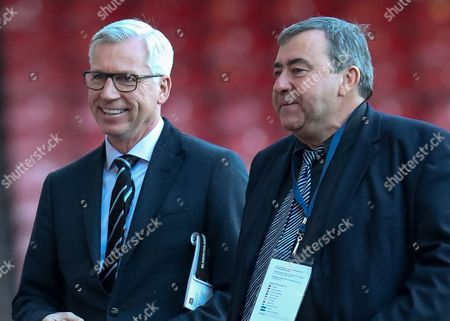 Football - 2014 / 2015 Premier League - West Ham United vs Newcastle Newcastle's Manager Alan Pardew with BBC commentator Jonathan Pearce at Upton Park  United Kingdom London