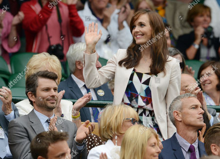 Tennis - 2014 Wimbledon Championships - Week One Saturday Mens Singles Third Round: Rafael Nadal v Mikhall Kukushkin Ex Olympic Gold Medal winning Cyclist Victoria Pendleton with her husband Dr Scott Gardner in the Royal Box on Centre Court
