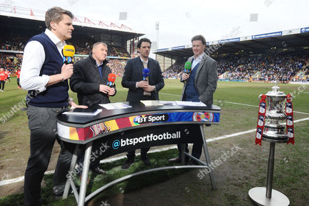 Stock Image of ?Football - 2014 / 2015 FA Cup - Sixth Round: Bradford City vs Reading BT Sport commentating panel at Valley Parade Left to right: host Jake Humphrey Paul Jewell Owen Hargreaves and Steve McManaman