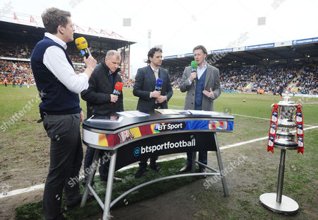 ?Football - 2014 / 2015 FA Cup - Sixth Round: Bradford City vs Reading BT Sport commentating panel at Valley Parade Left to right: host Jake Humphrey Paul Jewell Owen Hargreaves and Steve McManaman