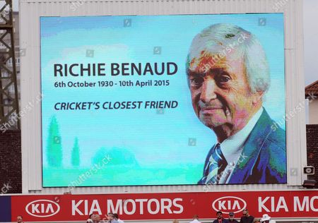 Cricket - 2015 Australia Tour of England - Fifth Ashes Test at The Oval A Tribute to Broadcaster Richie Benaud during the afternoon tea session of the first day's play