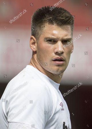 Football - 2015 / 2016 Premier League - Arsenal vs West Ham United West Ham's Raphael Spiegel during warm up at The Emirates Stadium  United Kingdom London