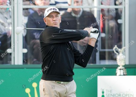 Stock Image of Golf - 2015 Senior Open Championship - Sunningdale Golf Club Peter Fowler teeing off for the final round of the day at Sunningdale Golf Club  GBR Ascot