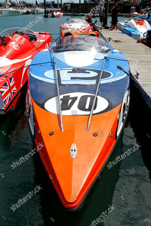 Gosport P1 Grand Prix of the Sea 2015 Boat number 04 Arthur J Gallagher Piloted by Mark Moore with Navigator Karl Turner moored at Gosport Marina before the racing at Stokes Bay in Gosport