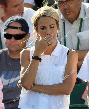 Tennis - 2015 Wimbledon Championships - Week One Monday [Day One] Men's Singles First Round Lleyton Hewitt (AUS) vs Jarkko Nieminen (FIN) Its all too much for Lleyton Hewitt lady Bec Cartwright as he crashes out of his last ever Wimbledon in 5 sets on Court 2