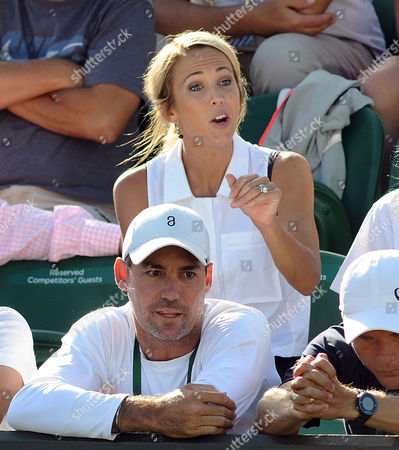 Tennis - 2015 Wimbledon Championships - Week One Monday [Day One] Men's Singles First Round Lleyton Hewitt (AUS) vs Jarkko Nieminen (FIN) Lleyton Hewitt lady Bec Cartwright tries to rally him to no avail before crashes out of his last ever Wimbledon in 5 sets on Court 2