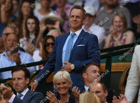 Tennis - 2015 Wimbledon Championships - Week One Saturday [Day Six] Men's Singles Third Round Roger Federer (SUI) vs Samuel Groth (AUS) Sportsmen and Women on Centre Court Golfer Luke Donald with Anton du Beke and Judy Murray in front
