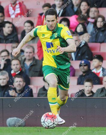 Football - 2015 / 2016 Premier League - Arsenal vs Norwich City Matt Jarvis of Norwich City at The Emirates