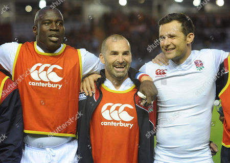 Rugby Union - 2015 Rugby Aid for Heroes - England vs The Rest of the World Martin Offiah Louie Spence and Harry Judd during the National Anthems at The Stoop