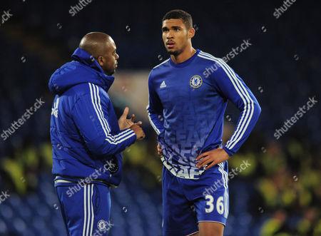 Football - 2015 / 2016 FA Cup - Fifth Round: Chelsea vs Manchester City Chelsea coach Eddie Newton has a word with Ruben Loftus Cheek at Stamford Bridge