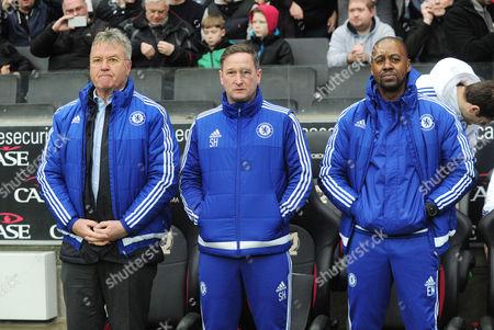 â€Å'Football - 2015 / 2016 FA Cup - Fourth Round: MK Dons vs Chelsea Chelsea staff - l - r : Guus Hiddink Steve Holland Eddie Newton at Stadium mk