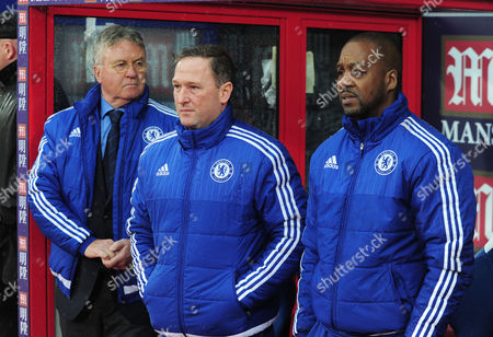 Football - 2015 / 2016 Premier League - Crystal Palace vs Chelsea Chelsea caretaker Manager Guus Hiddink with coaches Steve Holland and Eddie Newton (right) at Selhurst Park