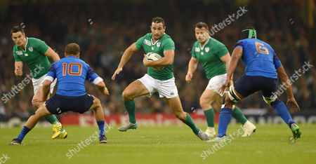 Rugby Union - 2015 Rugby World Cup - Pool D: France vs Ireland Rob Kearney of Ireland in action at Millennium Stadium Cardiff Cian Healy and Jonathan Sexton are in support