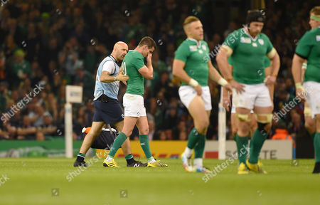 Rugby Union - 2015 Rugby World Cup - Pool D: France vs Ireland Jonathan Sexton of Ireland leaves the field in tears injured at Millennium Stadium Cardiff