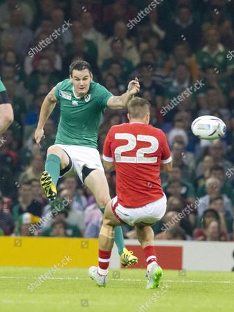 Rugby Union - 2015 Rugby World Cup - Pool D: Ireland vs Canada Jonny Sexton of Ireland volleys the ball fly kick at the Millennium Stadium Cardiff  UK cardiff