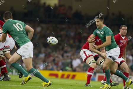 Rugby Union - 2015 Rugby World Cup - Pool D: Ireland vs Canada Conor Murray of Ireland \moves the ball to Jonathan Sexton of Ireland at the Millennium Stadium Cardiff  UK cardiff