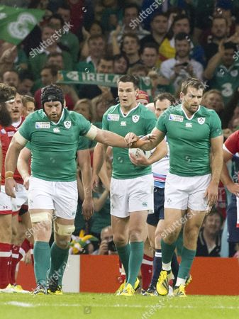 Rugby Union - 2015 Rugby World Cup - Pool D: Ireland vs Canada Jonathan Sexton of Ireland walks back as Ireland celebrate after \Sean O'Brien of Ireland scores at the Millennium Stadium Cardiff  UK cardiff